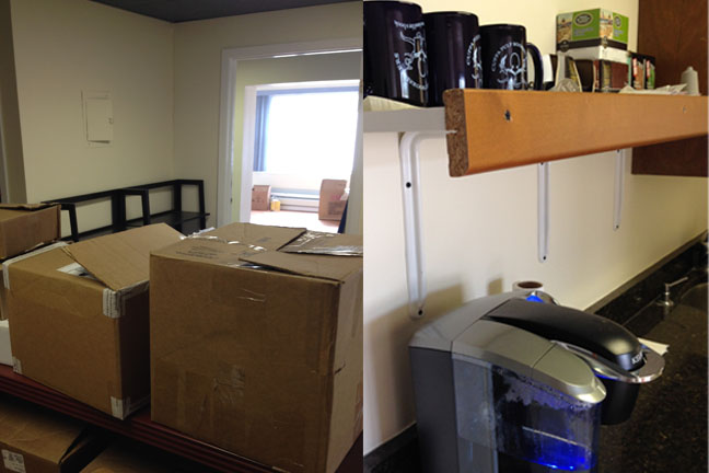 Boxes of books, ready mugs, and the ever-vigilant Keurig.